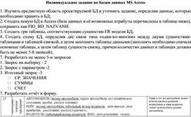 Индивидуальное задание по Базам данных MS Access