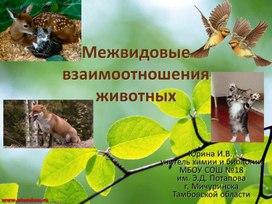 """Презентация к уроку экологии """"Межвидовые взаимоотношения животных"""""""