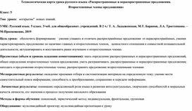 Технологическая карта урока русского языка «Распространенные и нераспространенные предложения.  Второстепенные члены предложения»