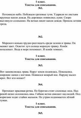 Тексты для списывания по русскому языку
