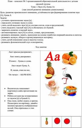 План – конспект № 1 организованной образовательной деятельности с детьми  средней группы  Тема: « Звук [А], буква А» ( как способ развитие внимания дошкольника)