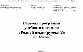 Рабочая программа по родному языку 1-4 классы