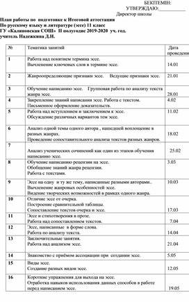План подготовки к Государственной итоговой аттестации по русскому языку в 11 классе.