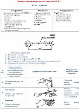 Инструкционно-технологическая карта № 9.11  Ключ гаечный 4