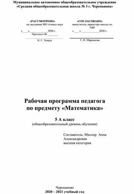Рабочая программа по математике 5 класс УМК Виленкин Н.Я.