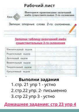 Русский язык 4 класс. Повторяем окончания имён существительных 2 склонения.