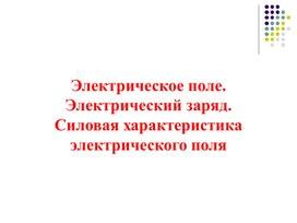 ЭЛЕКТРИЧЕСКОЕ ПОЛЕ 10 класс