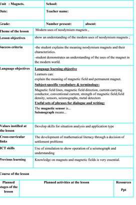 Physics Grade 10 Magnetic properties of a substance Lesson plan 1