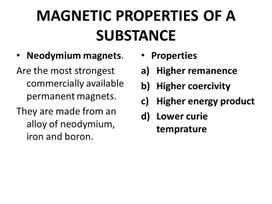 Physics Grade 10 Magnetic properties of a substance Presentation