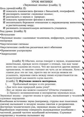 УРОК ФИЗИКИ «Звуковые волны» (8-9 класс)