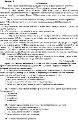 Тест по русскому языку доля 6 класса в формате ОГЭ, 3 вариант