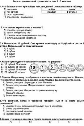Тест по финансовой грамотности