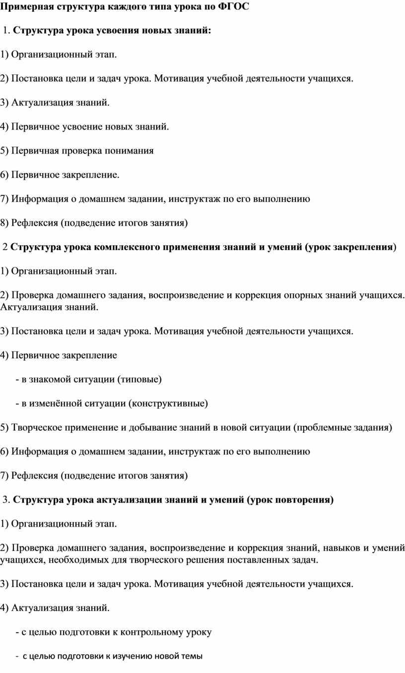 Примерная структура каждого типа урока по