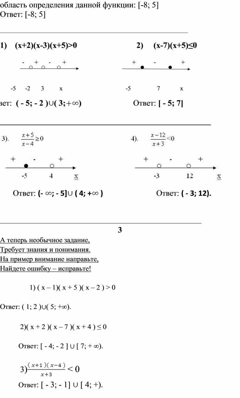 Ответ: [-8; 5] _____________________________________________________________ 1) (х+2)(х-3)(х+5)>0 2) (х-7)(х+5)≤0 -5 -2 3 х -5 7 х