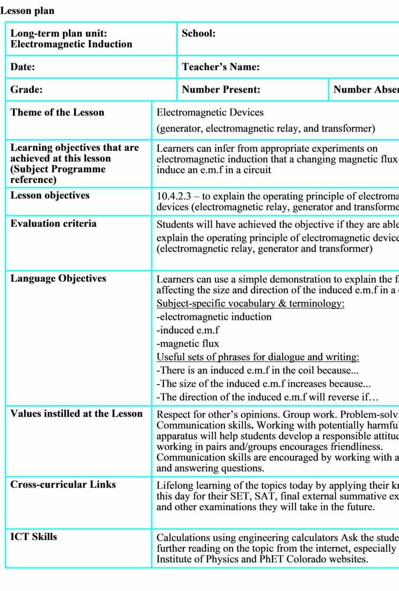Lesson plan Long-term plan unit: