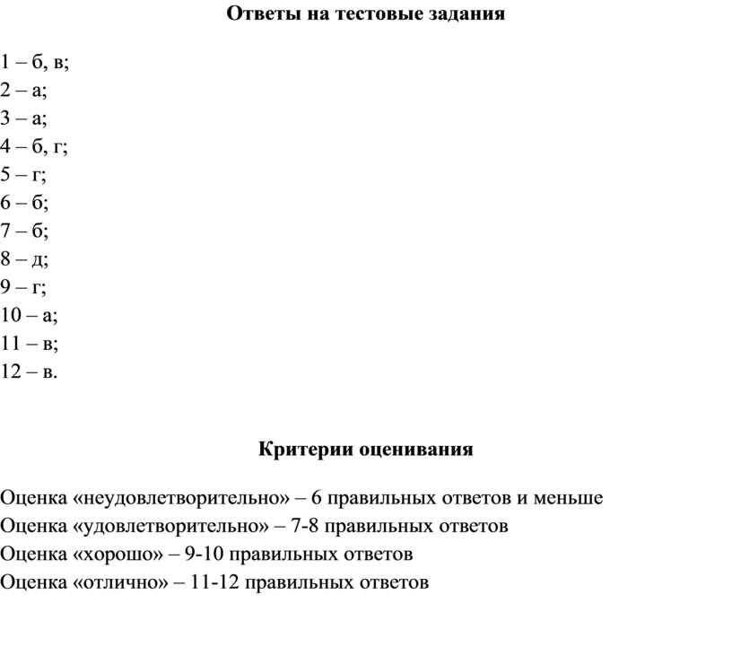 Ответы на тестовые задания 1 – б, в; 2 – а; 3 – а; 4 – б, г; 5 – г; 6 – б; 7…