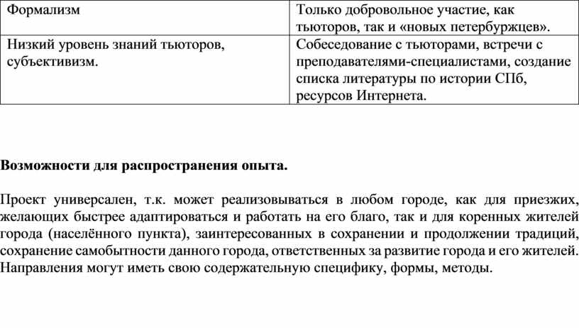 Формализм Только добровольное участие, как тьюторов, так и «новых петербуржцев»