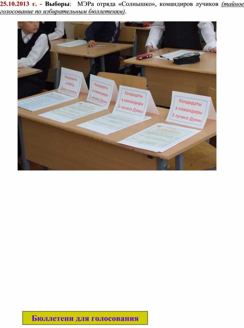 Выборы : МЭРа отряда «Солнышко», командиров лучиков (тайное голосование по избирательным бюллетеням)