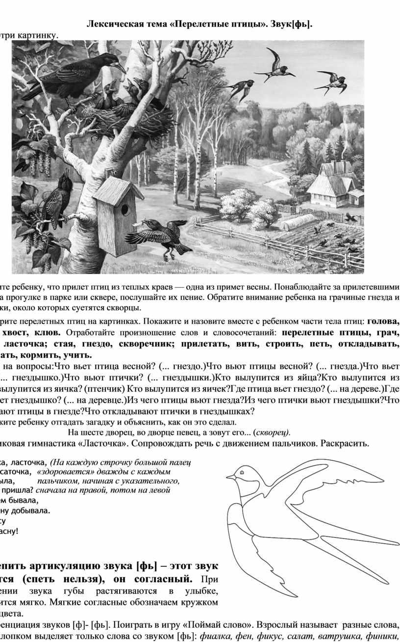 Лексическая тема «Перелетные птицы»