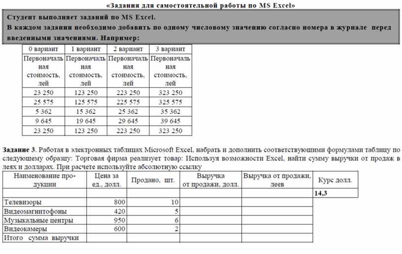 Задания для самостоятельной работы по MS Excel