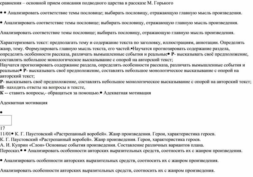 М. Горького Анализировать соответствие темы пословице; выбирать пословицу, отражающую главную мысль произведения