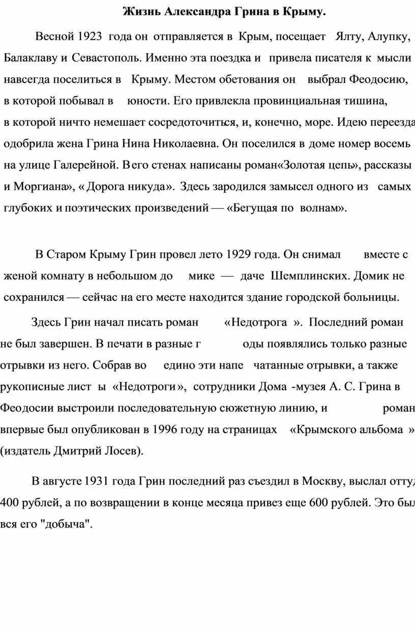 Жизнь Александра Грина в Крыму