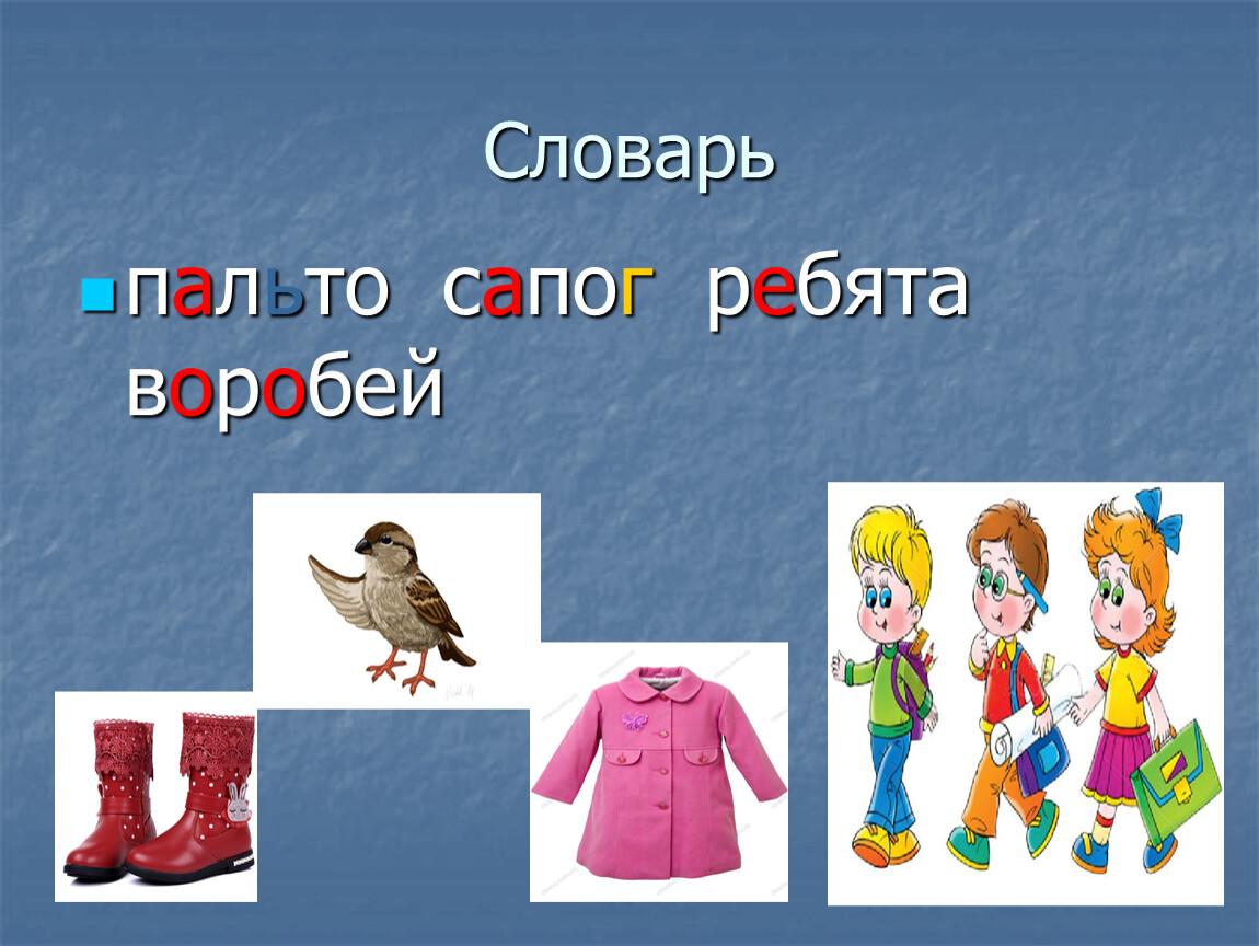 Словарь пальто сапог ребята воробей