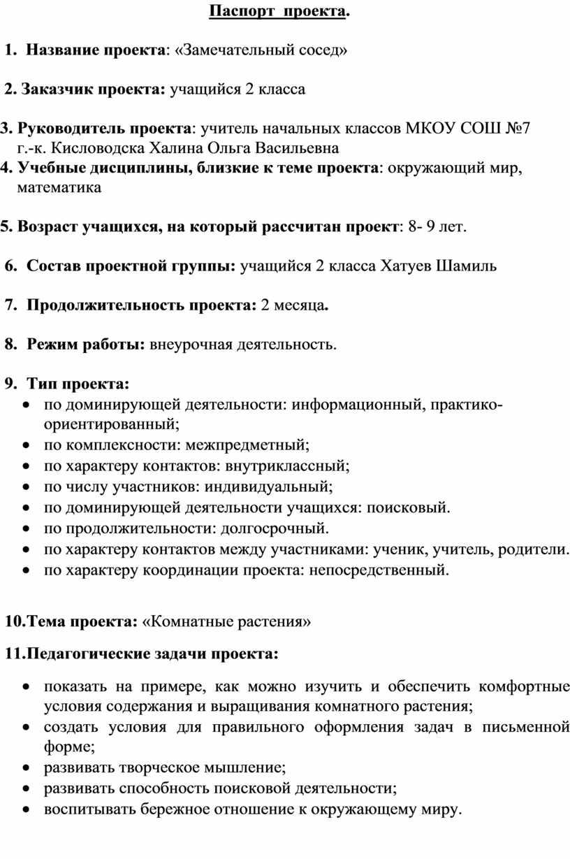 Паспорт проекта . 1.