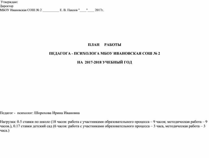 Утверждаю: Директор МБОУ Ивановская