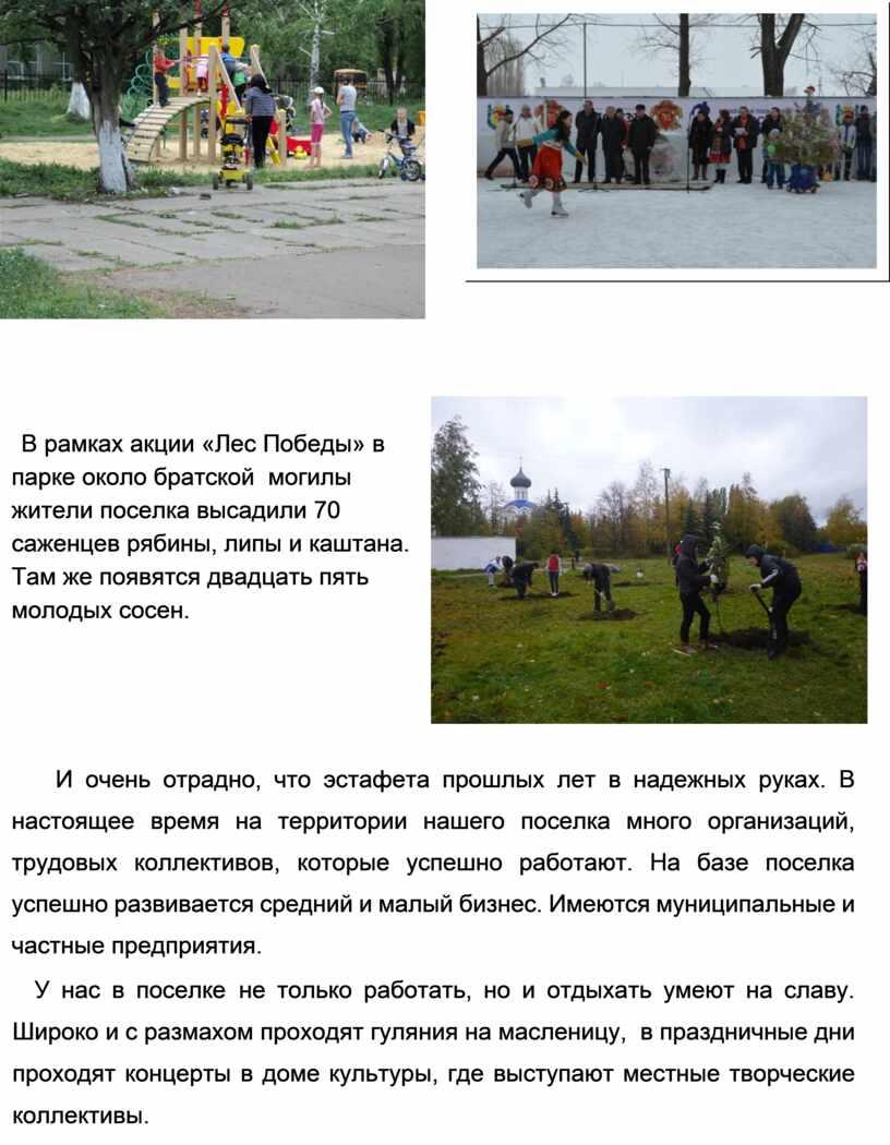 В рамках акции «Лес Победы» в парке около братской могилы жители поселка высадили 70 саженцев рябины, липы и каштана