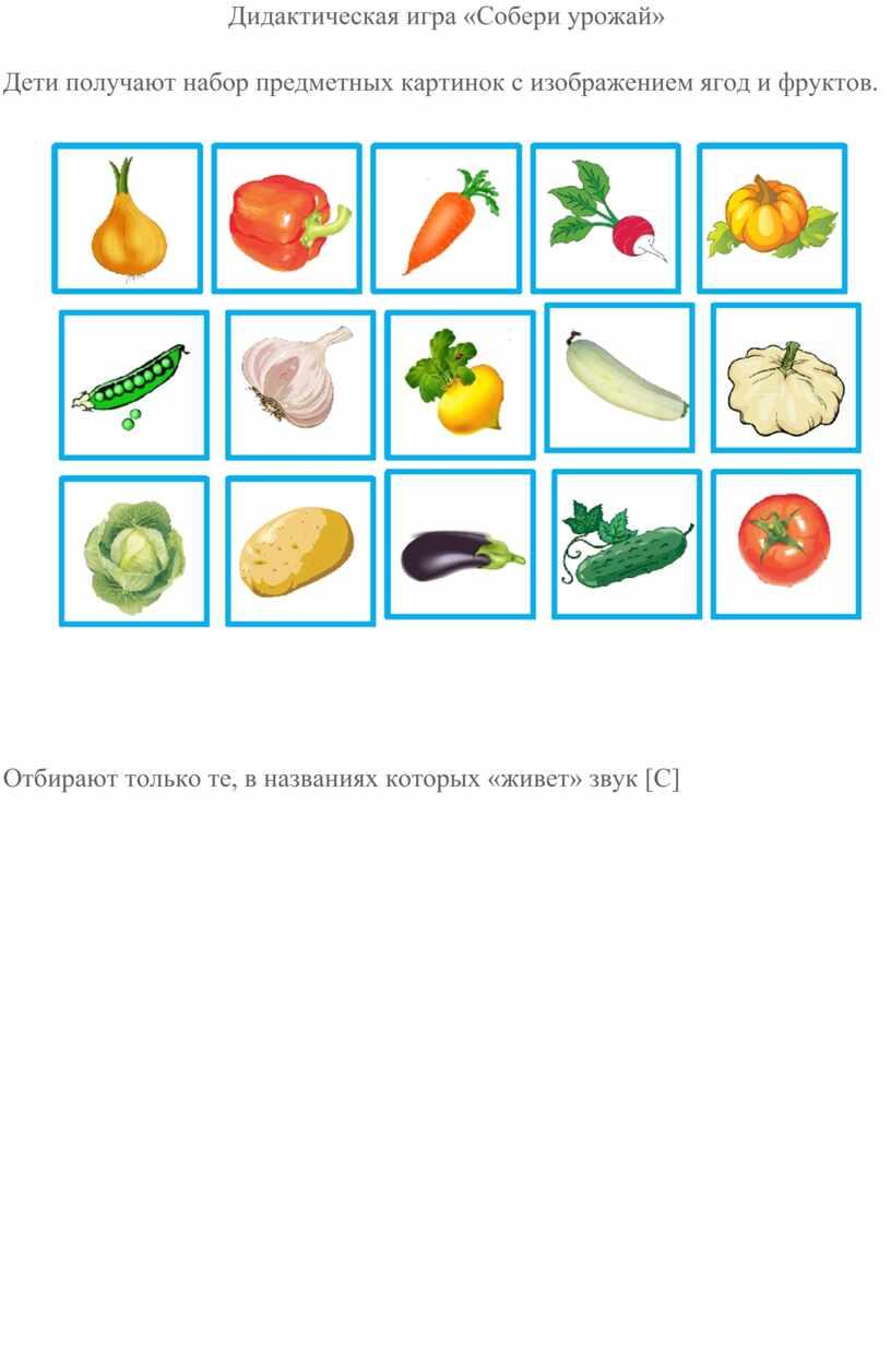 Дидактическая игра «Собери урожай»