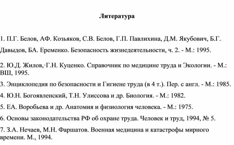 Литература 1. П.Г. Белов, АФ