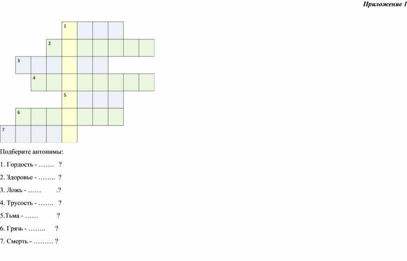Приложение 1 Подберите антонимы: 1