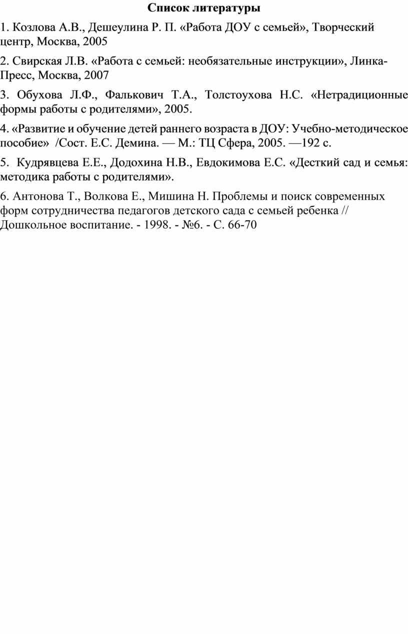 Список литературы 1. Козлова