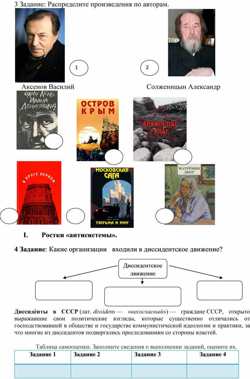 Задание: Распределите произведения по авторам
