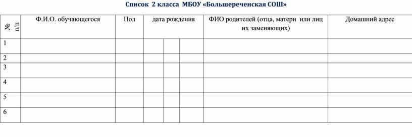 Список 2 класса МБОУ «Большереченская