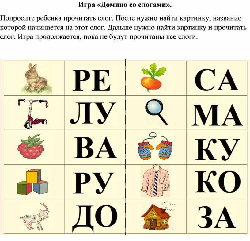 Игра «Домино со слогами». Попросите ребенка прочитать слог