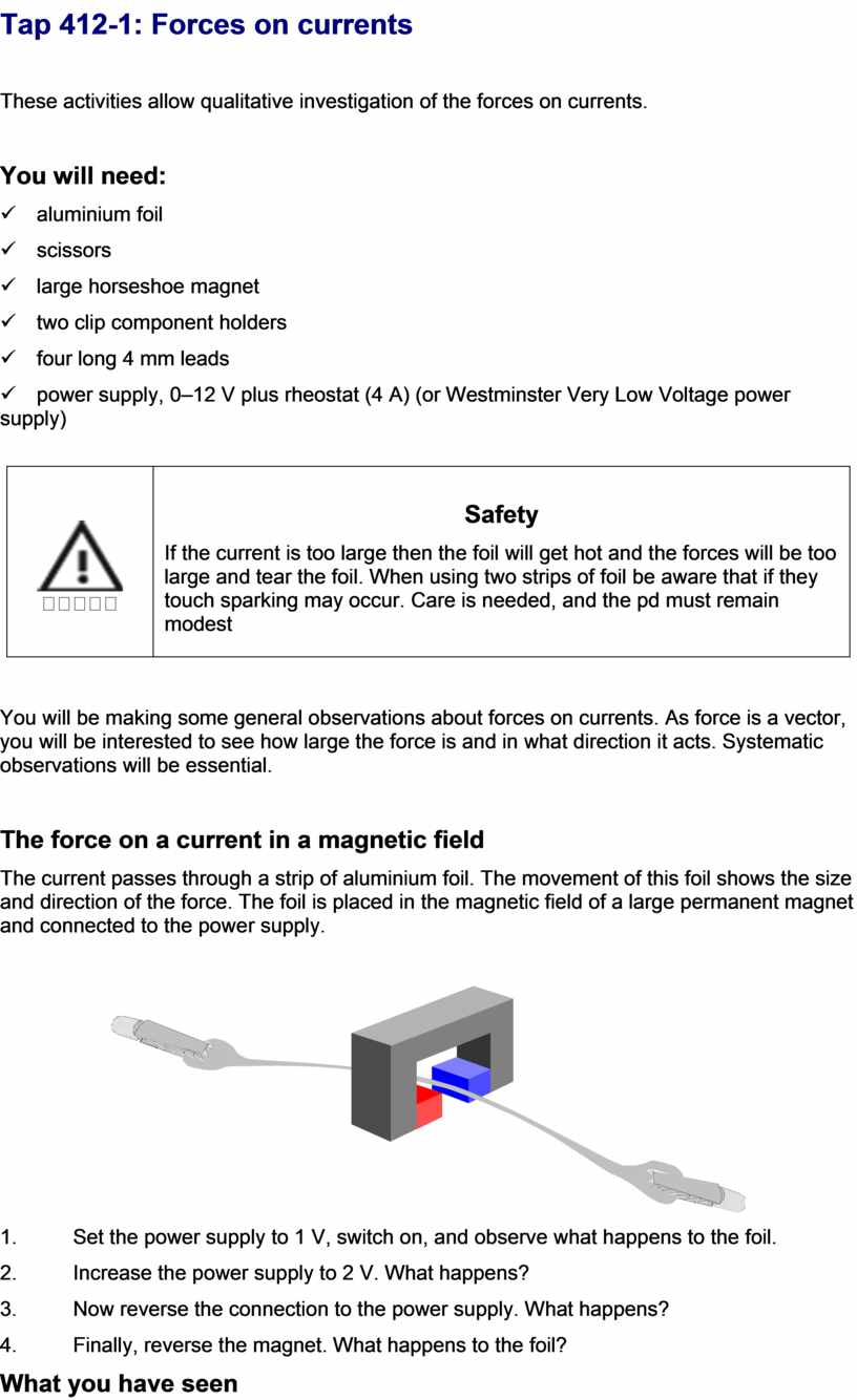 Tap 412-1: Forces on currents