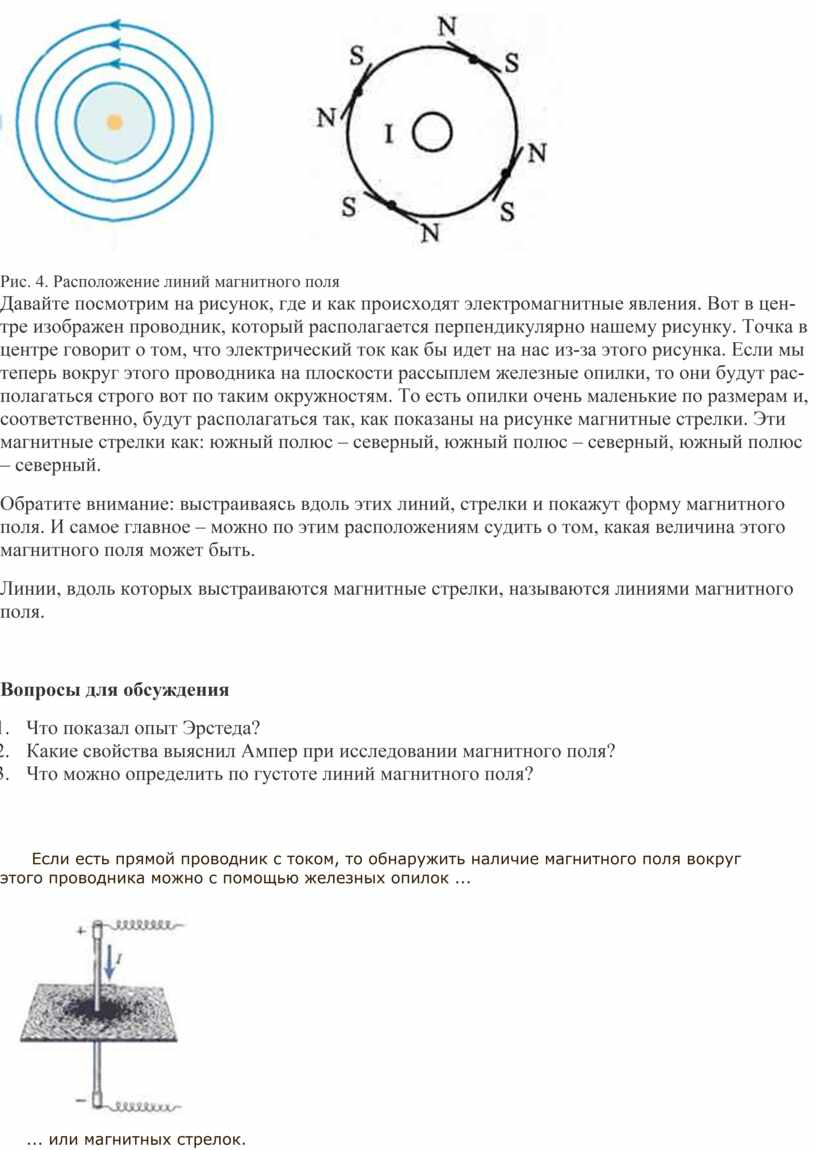 Рис. 4. Расположение линий магнитного поля