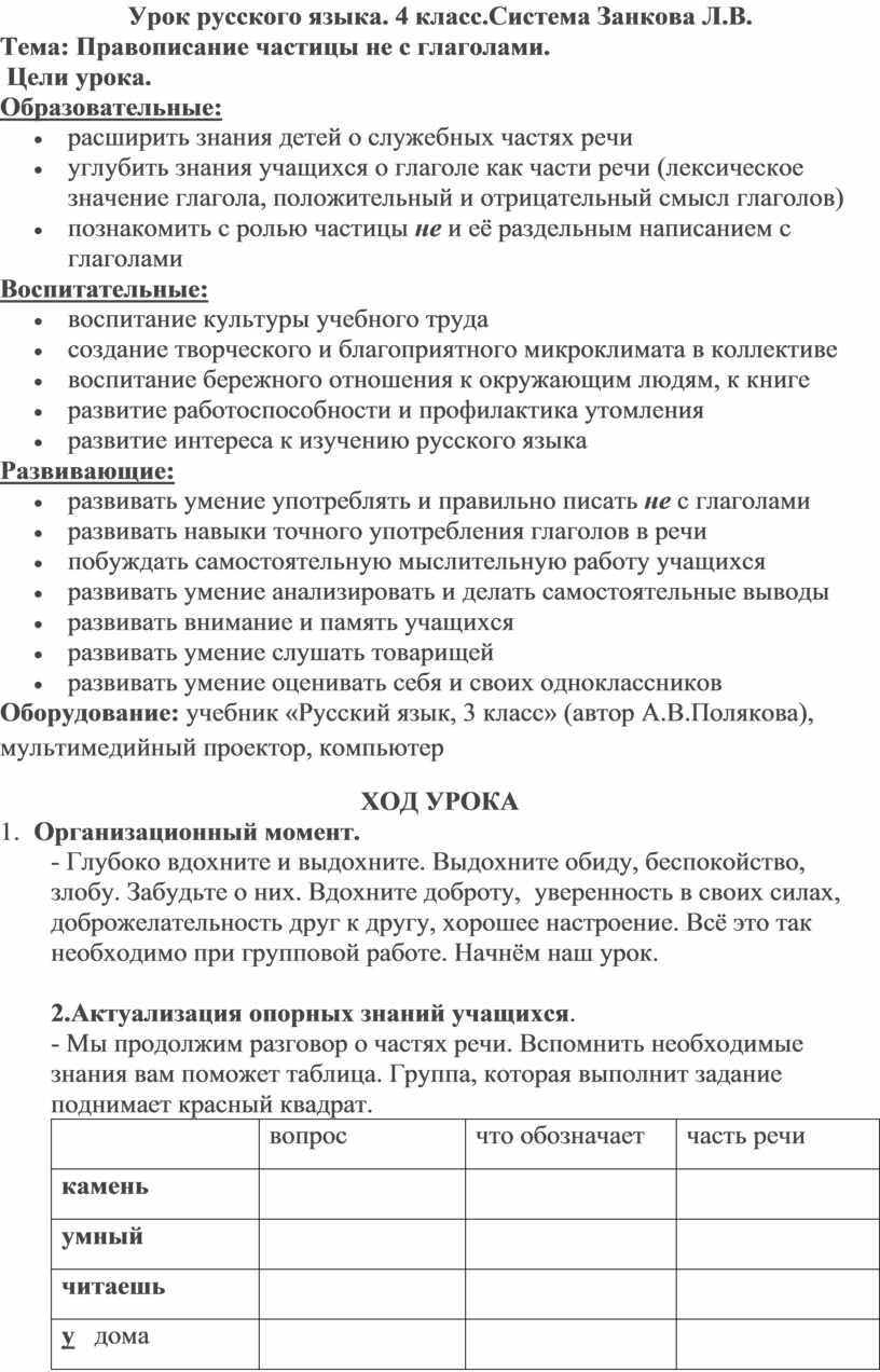 Урок русского языка. 4 класс.Система