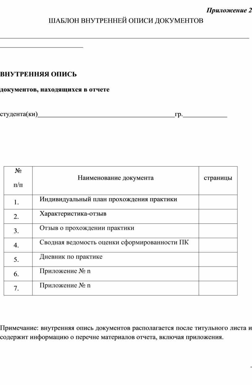 Приложение 2 ШАБЛОН ВНУТРЕННЕЙ