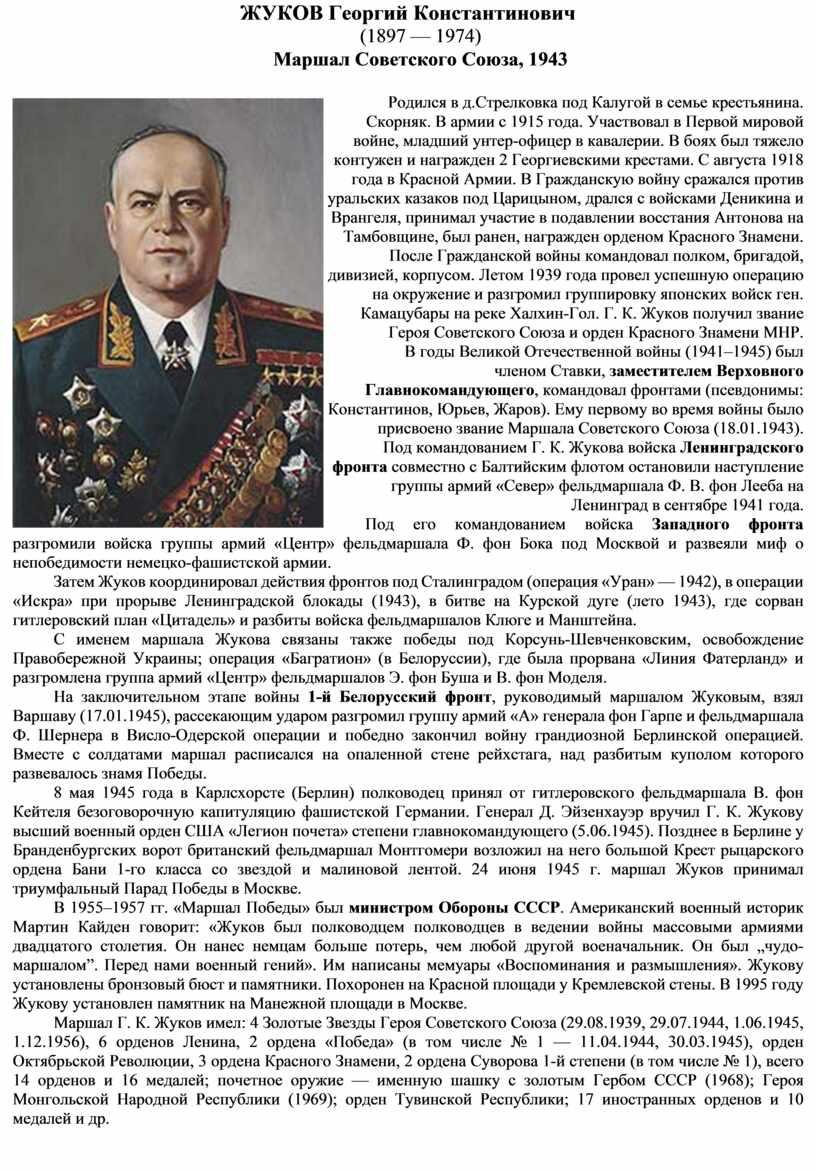 ЖУКОВ Георгий Константинович (1897 — 1974)