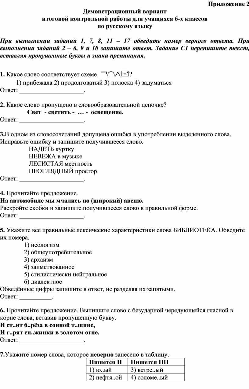 Приложение 2 Демонстрационный вариант итоговой контрольной работы для учащихся 6-х классов по русскому языку