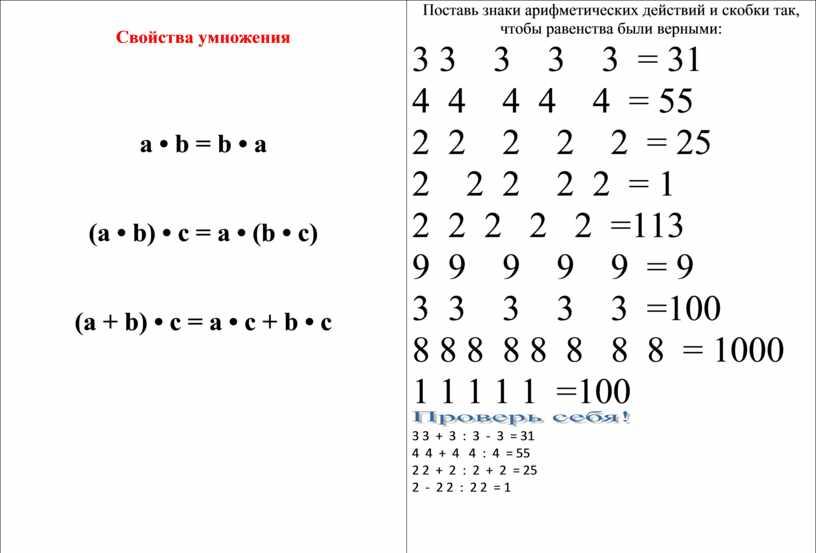 Свойства умножения a • b = b • a (a • b) • c = a • (b • c) (a + b) • c…