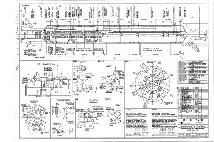Чертёж 3-х полочной колонны колонны синтеза аммиака