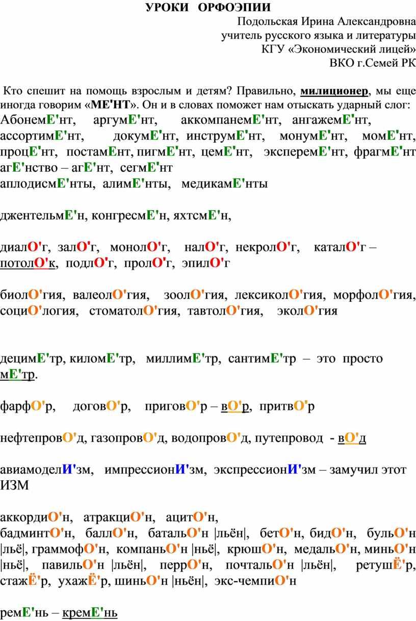 УРОКИ ОРФОЭПИИ Подольская