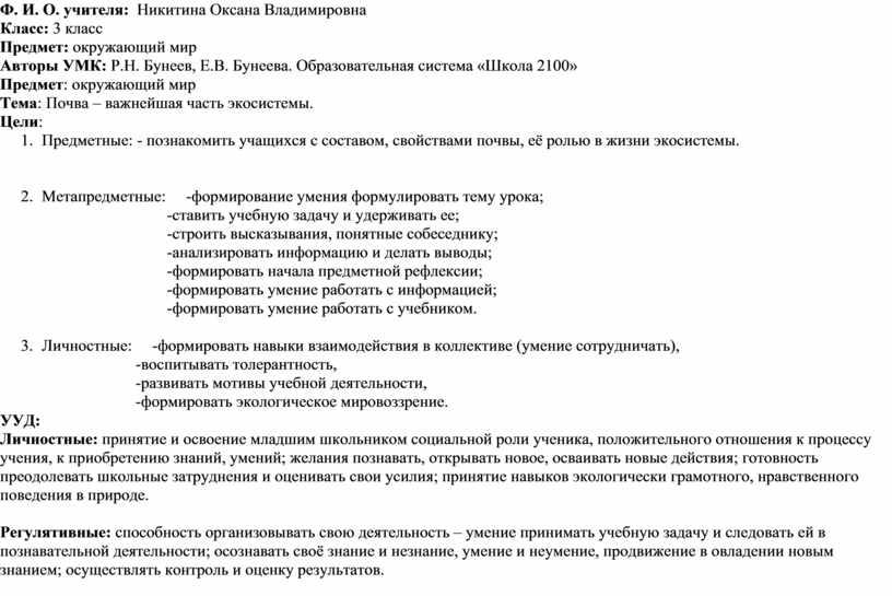 Ф. И. О. учителя: Никитина Оксана