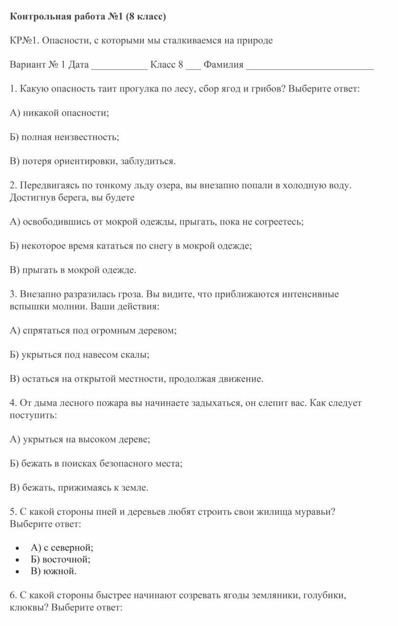 Контрольная работа №1 (8 класс)