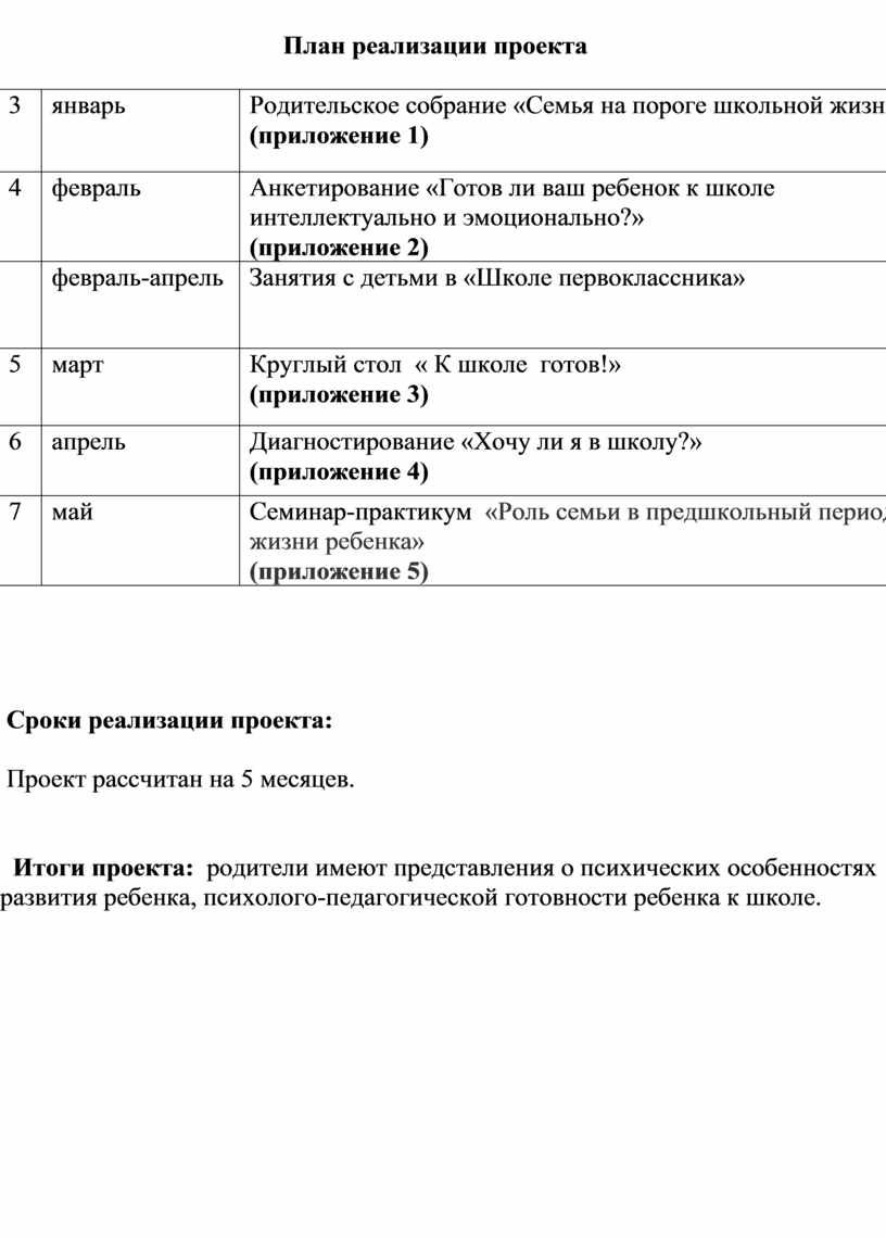 План реализации проекта 3 январь