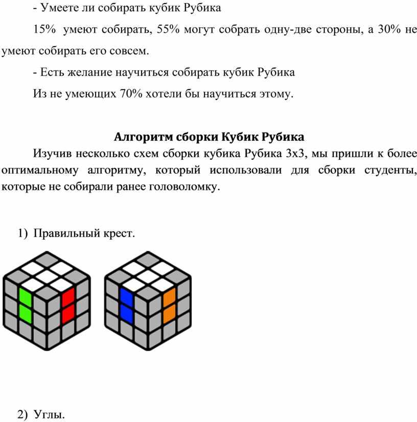 Умеете ли собирать кубик Рубика 15% умеют собирать, 55% могут собрать одну-две стороны, а 30% не умеют собирать его совсем